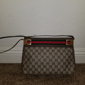VINTAGE GUCCI GG WEB STRIPED SUPREME BAG